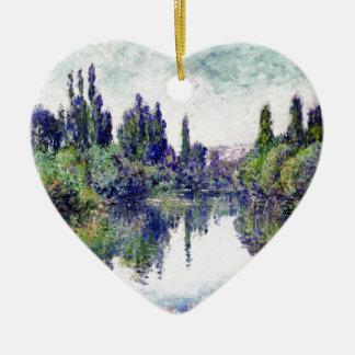 Morgen auf der Seine, nahe Vetheuil - Claude Monet Keramik Herz-Ornament