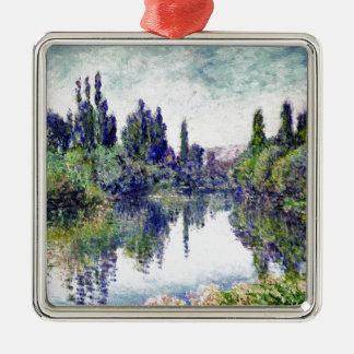 Morgen auf der Seine, nahe Vetheuil - Claude Monet Quadratisches Silberfarbenes Ornament