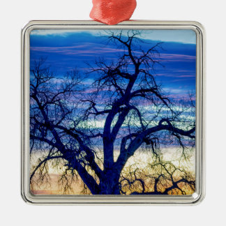 Morgen-Blues Quadratisches Silberfarbenes Ornament