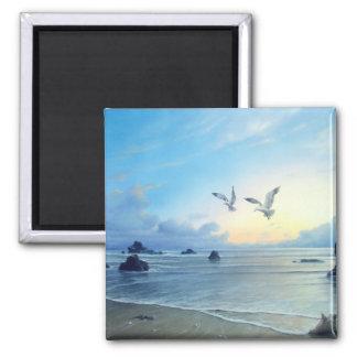 Morgen-Gezeiten-Strand-Thema-Küchen-Magneten Quadratischer Magnet