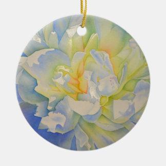 Morgen-Glühen - weiße Pfingstrose Keramik Ornament
