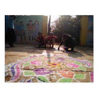 Morgen Rangoli Kunst an Baale Mähne! Postkarte