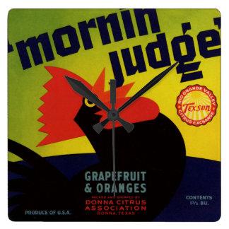 Morgen-Richter-orange Kisten-Aufkleber Quadratische Wanduhr
