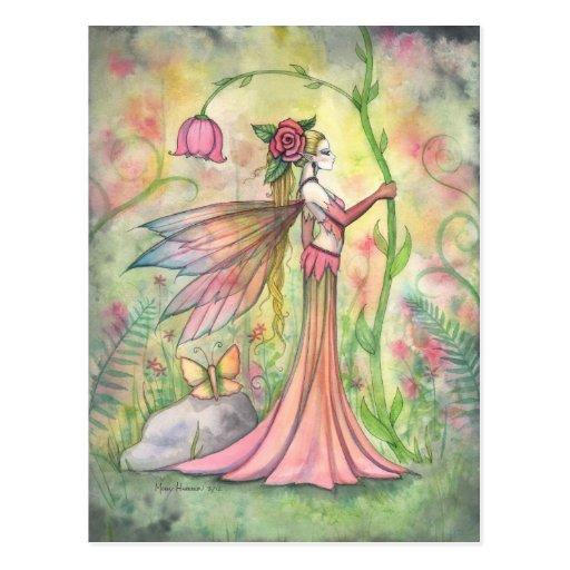 Morgen-Sonnenschein-Blumen-feenhafte Kunst-Fantasi Postkarte