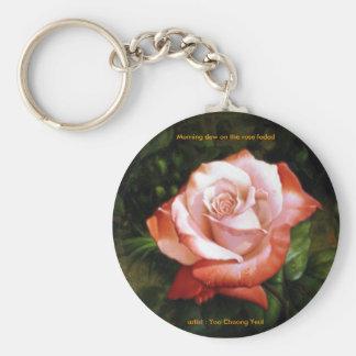 Morgentau auf der Rose verblaßte Keychain Schlüsselband