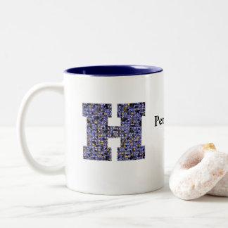 Mosaik-Buntglas-Monogramm-Anfangsbuchstabe H Zweifarbige Tasse