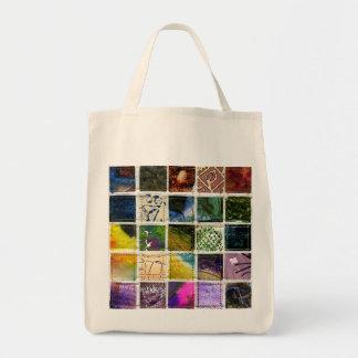 Mosaik der abstrakten Quadrate der verschiedenen Leinentasche