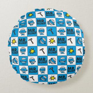 Mosaik Herr-Bump | im blauen Muster Rundes Kissen
