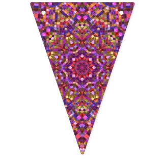 Mosaik-lila Vintage Kaleidoskop-Party-Flagge Wimpelketten