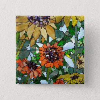 Mosaik-Sonnenblume Quadratischer Button 5,1 Cm