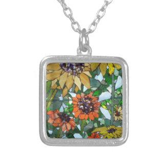 Mosaik-Sonnenblume Versilberte Kette