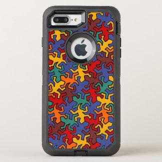 Mosaik-Spiegelgeckos-Muster - Erde gefärbt OtterBox Defender iPhone 8 Plus/7 Plus Hülle