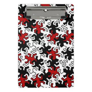 Mosaik-Spiegelgeckos-Muster - rotes Schwarz-weißes Mini Klemmbrett