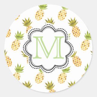 Mosaikartiges tropisches Aquarell-Ananas-Muster Runder Aufkleber