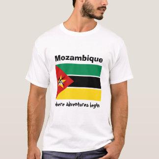 Mosambik-Flagge + Karte + Text-T - Shirt