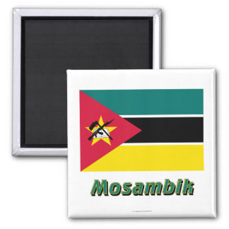 Mosambik Flagge MIT Namen Quadratischer Magnet