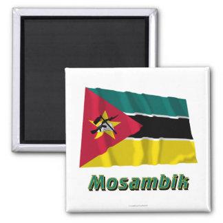 Mosambik Fliegende Flagge MIT Namen Quadratischer Magnet