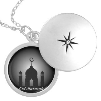 Moscheenhaube und Minarett-Silhouette Versilberte Kette