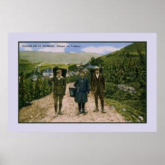 Mosel-Weinernte 1900 Schengen Luxemburg Poster