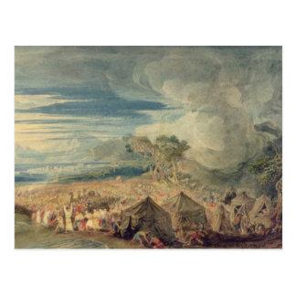 Moses, der das Wasser des Roten Meers teilt Postkarte