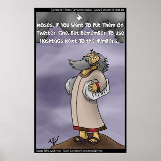 Moses u. das 10 Hashtags Plakat durch Rick London