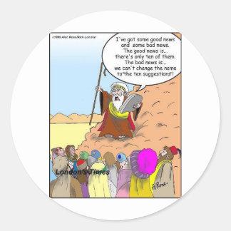 Moses u. die zehn Vorschlags-lustigen Geschenke u. Runder Aufkleber