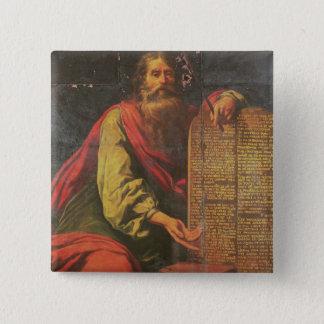 Moses und die Tabletten des Gesetzes Quadratischer Button 5,1 Cm