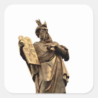 Moses und zehn Gebote golden Quadratischer Aufkleber
