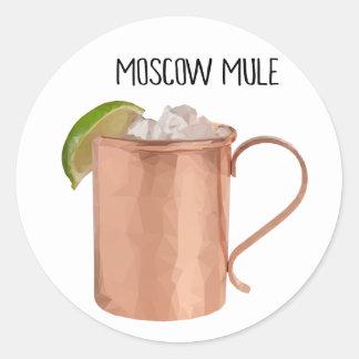 Moskau-Maultier-Kupfer-Tassen-niedrig Runder Aufkleber