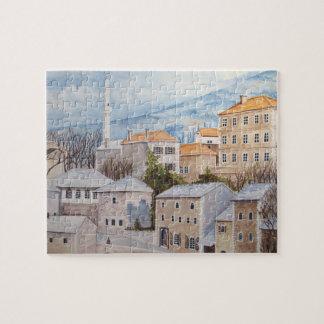 Mostar, Bosnien - AcrylTownscape Malerei Puzzle
