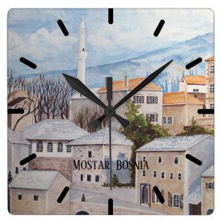 Mostar, Bosnien - AcrylTownscape Malerei Quadratische Wanduhr