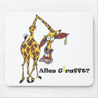 Motiv: lustige Giraffe mit Ohrring und Goldzahn Mauspad