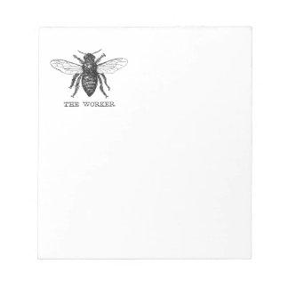Motivierend Arbeitskraft-Biene Schwarzweiss Notizblock