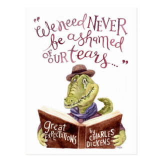 Motivierend Charles- DickenszitatWatercolor Croc Postkarte