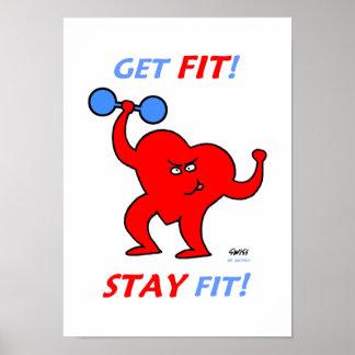 Motivierend Herz-Fitness-Cartoon-Turnhallen-Plakat Poster