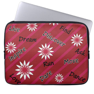 Motivierend Laptopkasten der rosa und weißen Blume Computer Sleeve Schutzhülle