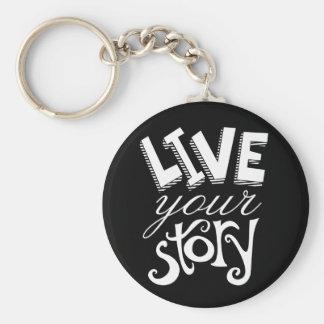 Motivierend leben Ihr Geschichten-Schwarzes Schlüsselanhänger