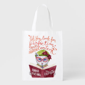 Motivierend Lew Tolstoi Zitatwatercolor-Katze Wiederverwendbare Einkaufstasche