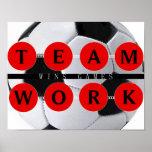 Motivierend TEAMWORK gewinnt Spiel-Fußball-Plakat