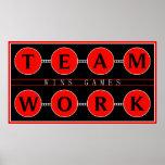 Motivierend Teamwork gewinnt Spiel-Plakat