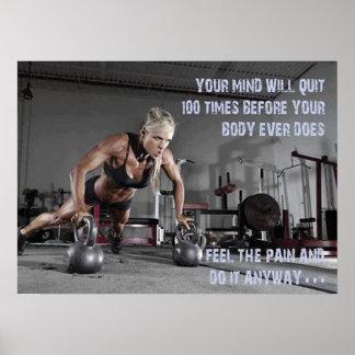 Motivierend weibliches Fitness-Turnhallen-Plakat