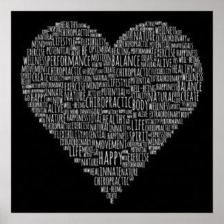Motivierend Wort-Herz-Chiropraktik-Plakat Poster