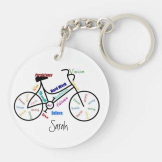 Motivierend Wörter für Fahrrad, Beidseitiger Runder Acryl Schlüsselanhänger