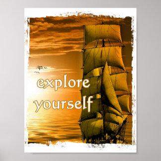motivierend Zitat des Vintagen Schiffs erforschen Poster