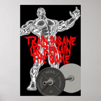 Motivierend Zuggeisteskrankes Weightlifting-Plakat Poster