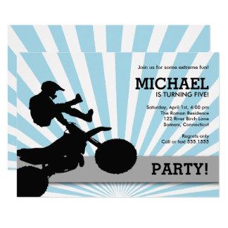 Motocross Dirtbike Einladung, blau Karte