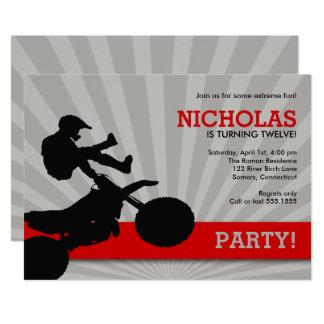 Motocross Dirtbike Einladung, Rot und Schwarzes Karte