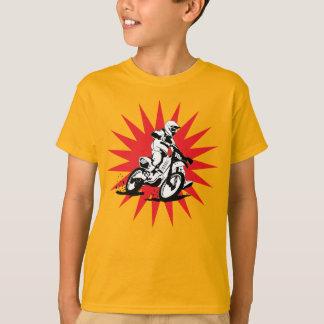 Motocross-Fahrrad auf rotem Stern-Hintergrund T-Shirt