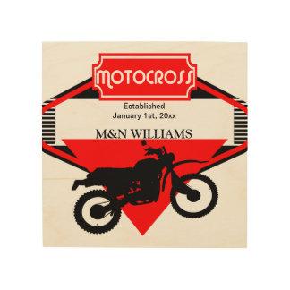 Motocross-Schmutz-Fahrrad-Schwarz-Rot fertigen Holzdruck