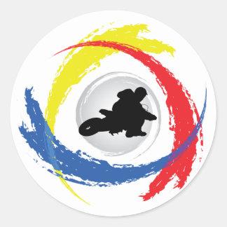 Motocross-Tricolor Emblem Runder Aufkleber